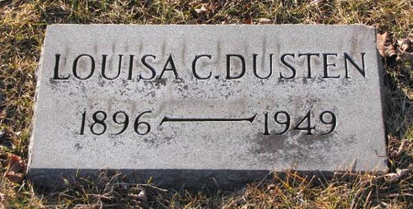 photo of gravestone for Lousia C. Dusten