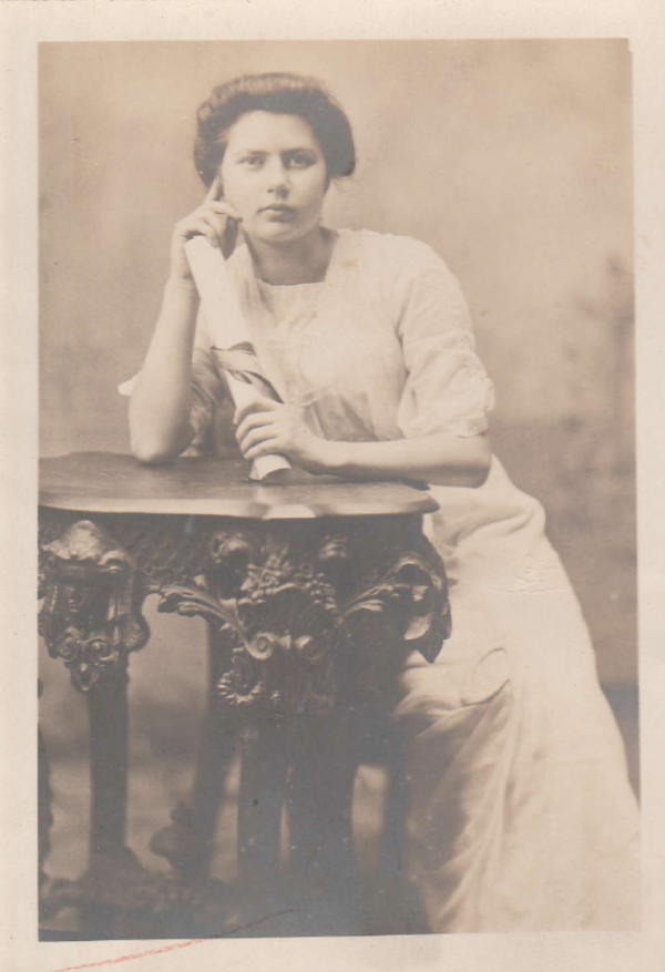 studio portrait of Miss Dusten as a young woman