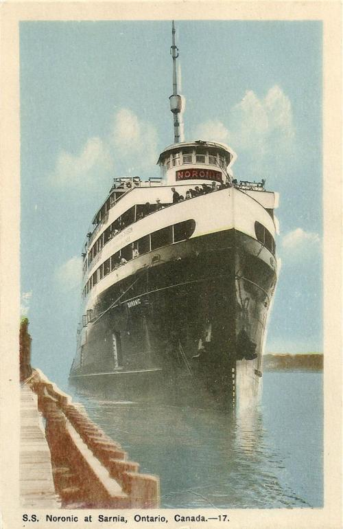 postcard of Noronic moored at Sarnia dock